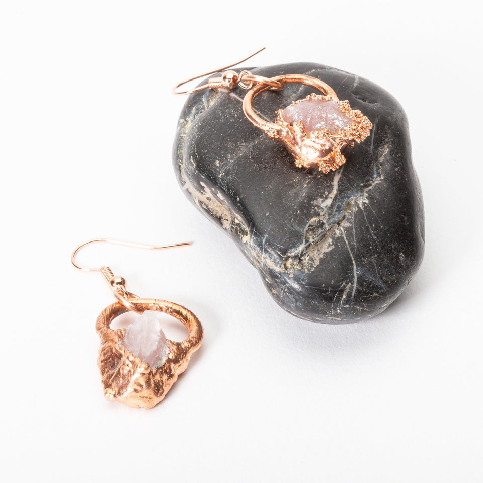 Small Electroformed Copper and Stone Earrings | Tinklet Jewelry Earring Tinklet Rose Quartz