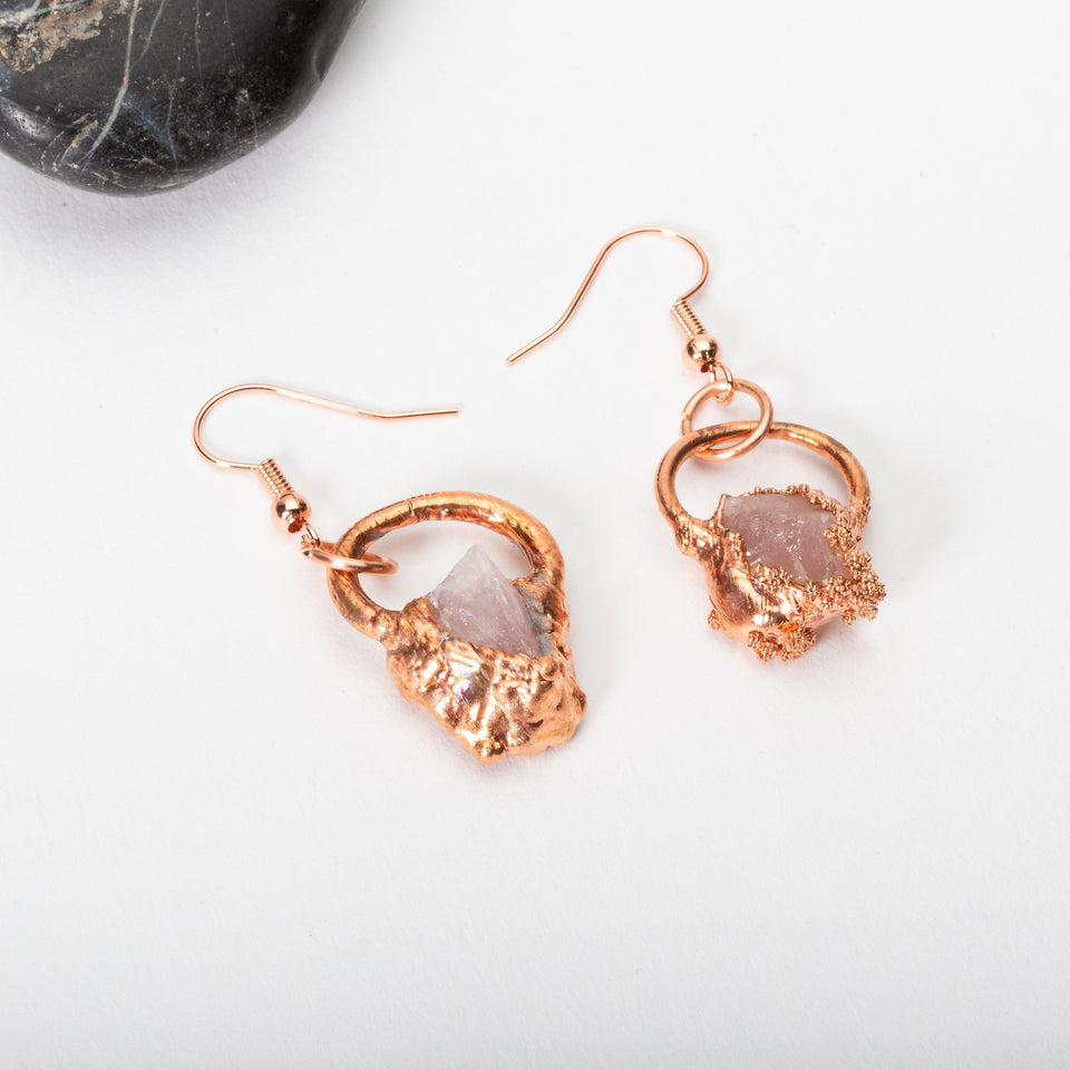 Small Electroformed Copper and Stone Earrings | Tinklet Jewelry