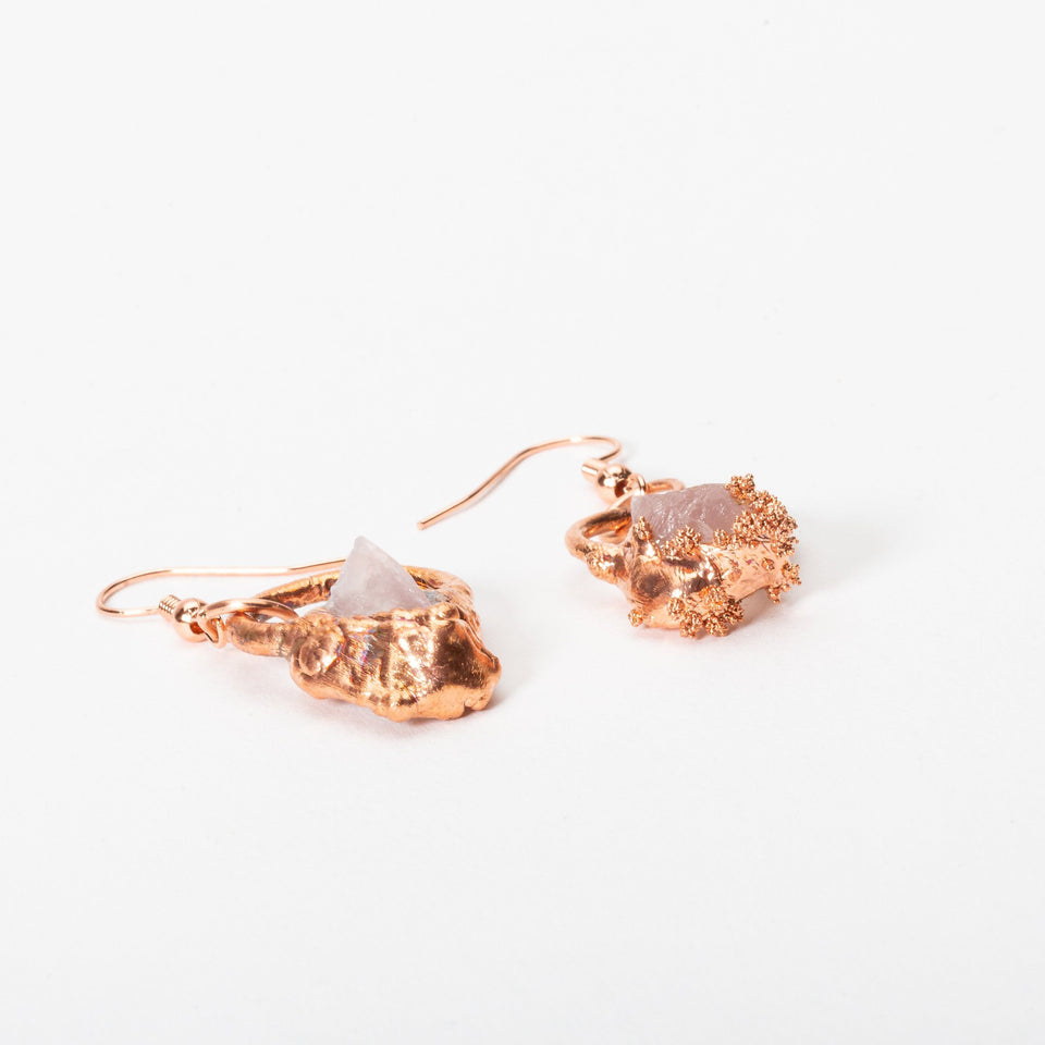 Small Electroformed Copper and Stone Earrings | Tinklet Jewelry Earring Tinklet