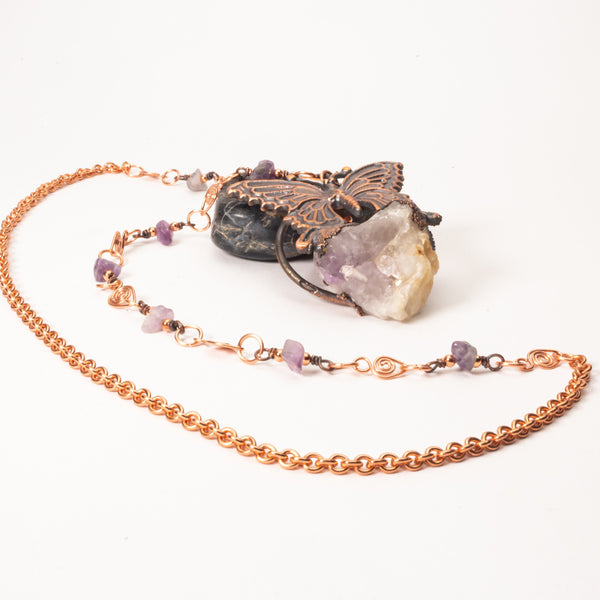 Copper Butterfly Pendant Necklace & Quartz Crystal | Tinklet Jewelry