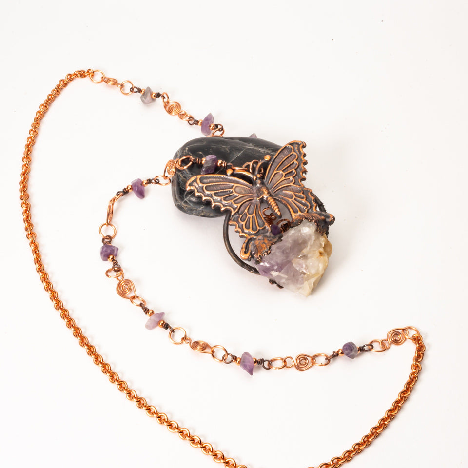 Copper Butterfly Pendant Necklace & Quartz Crystal | Tinklet Jewelry necklace/pendant Tinklet