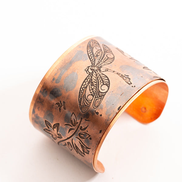 Copper Cuff Etched Dragonfly | Tinklet Jewelry
