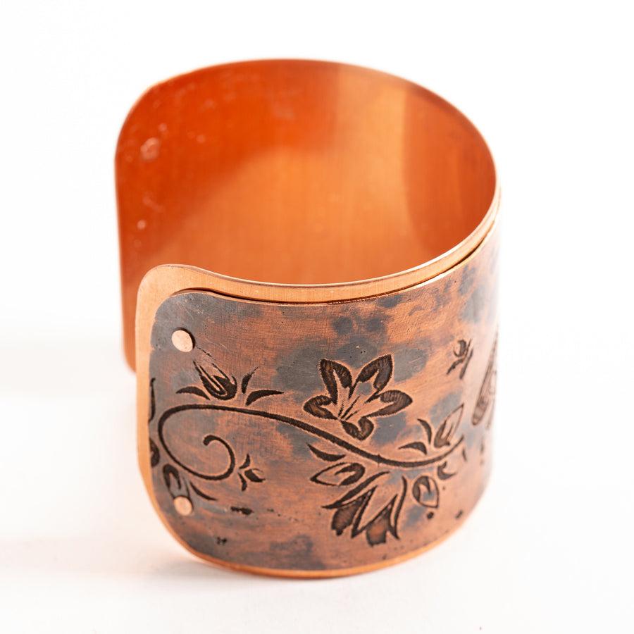 Copper Cuff Etched Dragonfly | Tinklet Jewelry Bracelet Tinklet