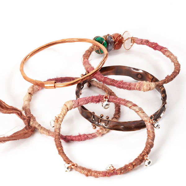 Sari Silk and Copper Fidget Bracelet Bangle Set | Tinklet Jewelry