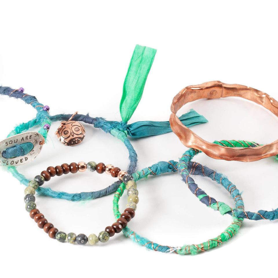 Stackable Sari Silk Bracelet Bangles Set of 5 | Tinklet Jewelry