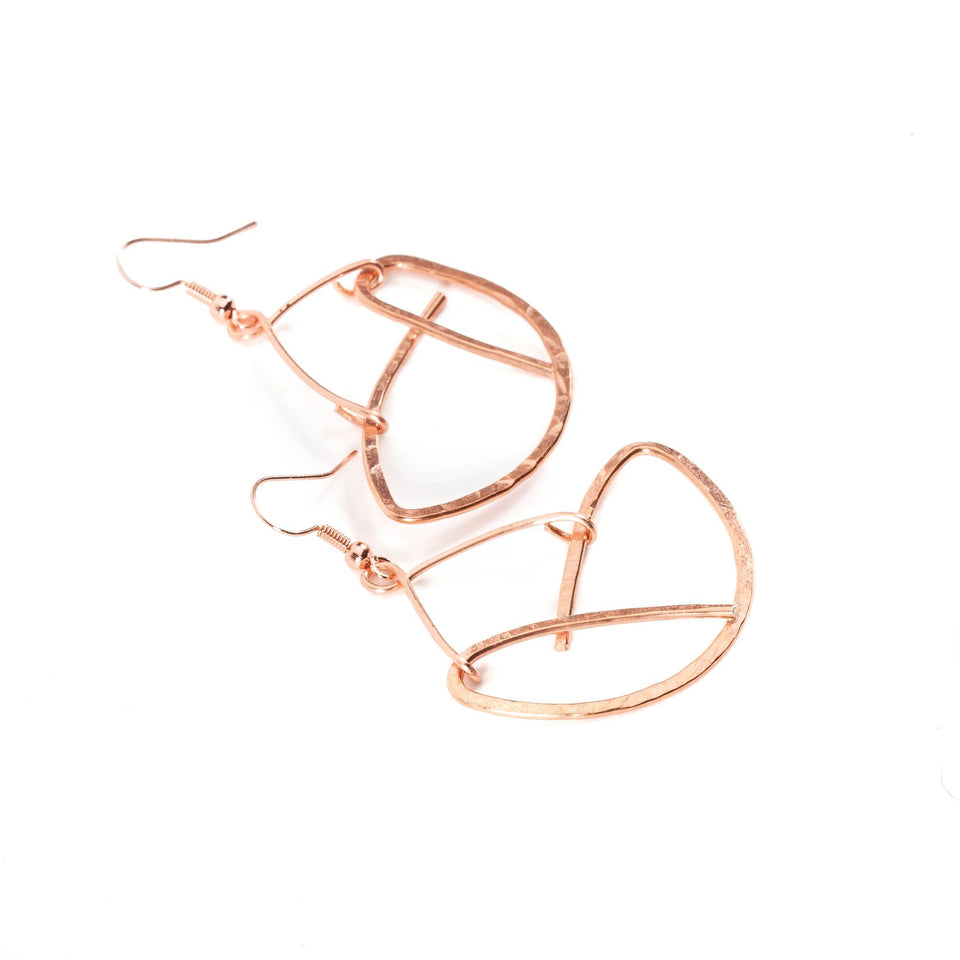 Copper Wire Lotus Flower Earrings | Tinklet Jewelry