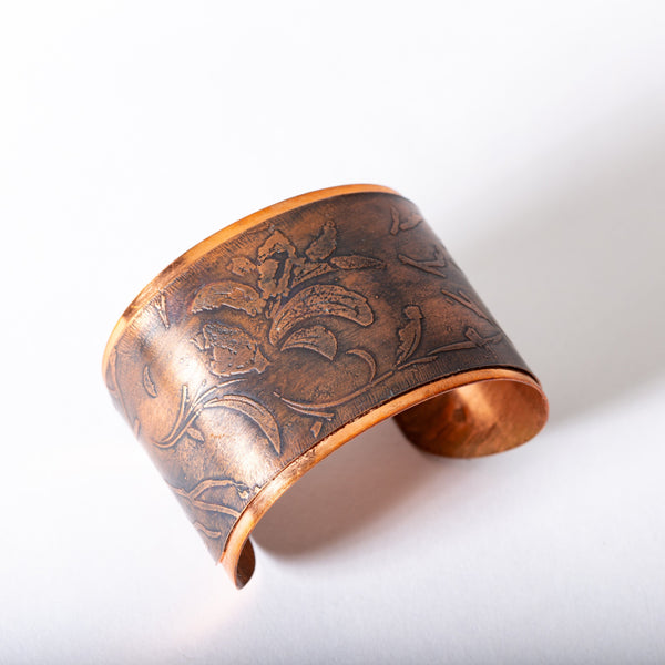 Copper Cuff with Floral Motif | Tinklet Jewelry