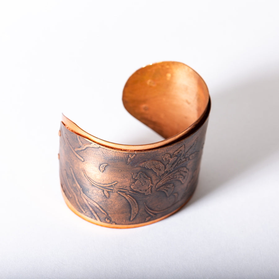 Copper Cuff with Floral Motif | Tinklet Jewelry Bracelet Tinklet