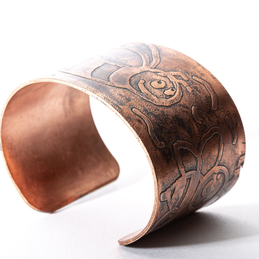 Copper Cuff with Bumblebee Etching | Tinklet Jewelry Bracelet Tinklet
