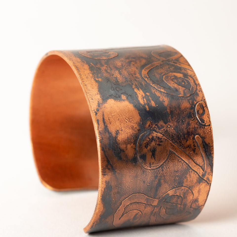 Thick Copper Cuff with Etched Notes | Tinklet Jewelry Bracelet Tinklet