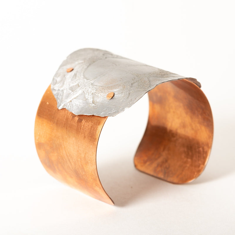 copper cuff with stainless steel