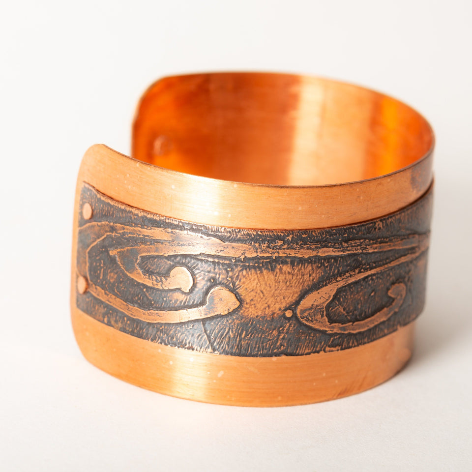 Etched Copper Cuff Riveted Layers | Tinklet Jewelry Bracelet Tinklet
