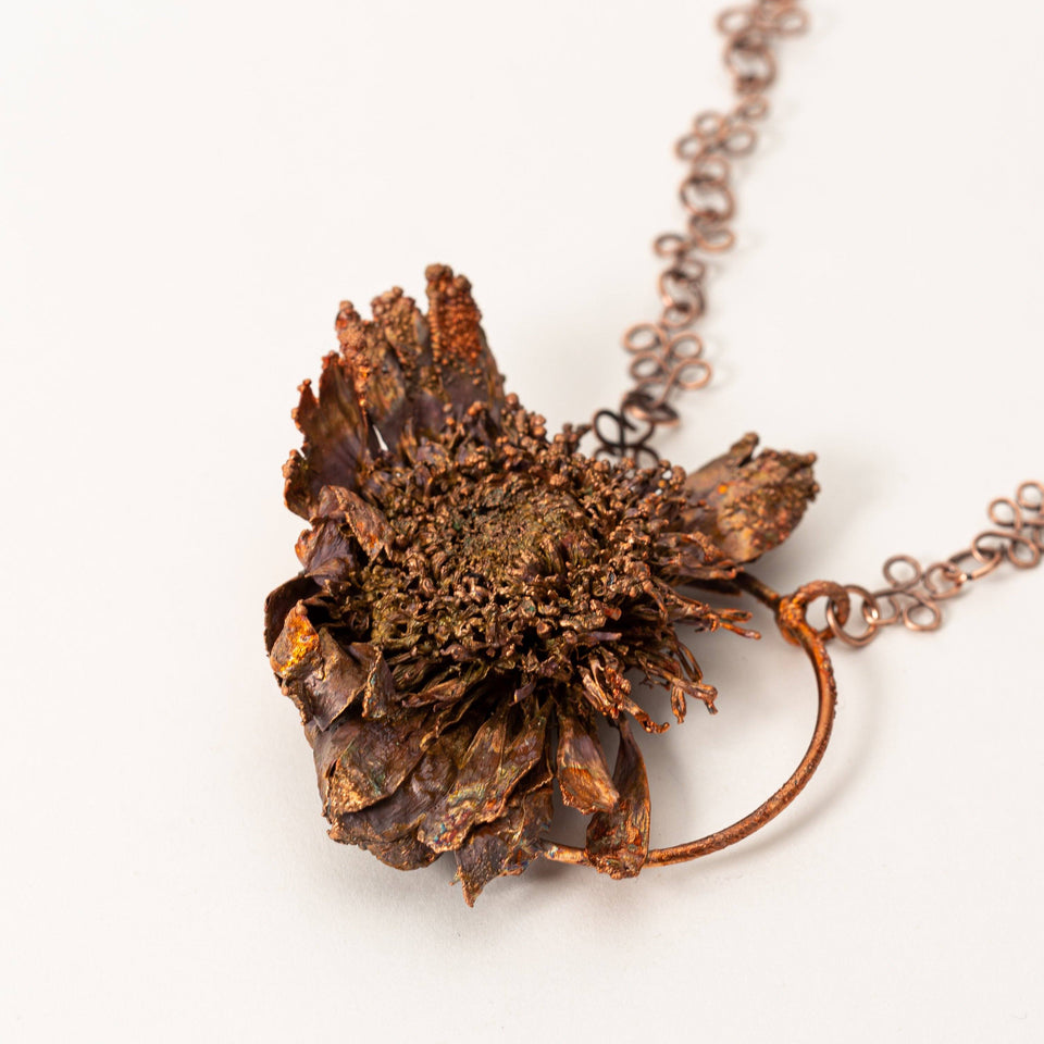 Natural Flower Electroformed Copper Botanical Jewelry| Tinklet Jewelry necklace/pendant Tinklet