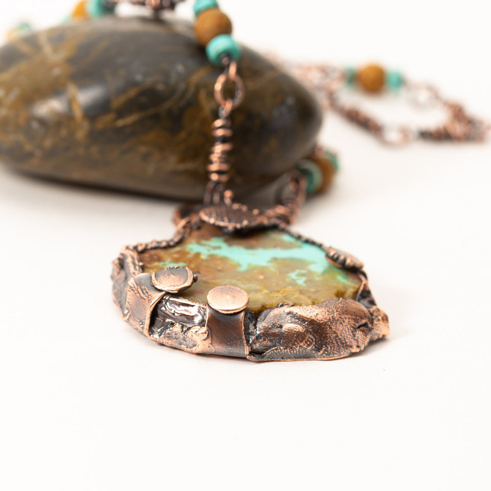 Natural Turquoise Pendant Electroformed Copper | Tinklet Jewelry
