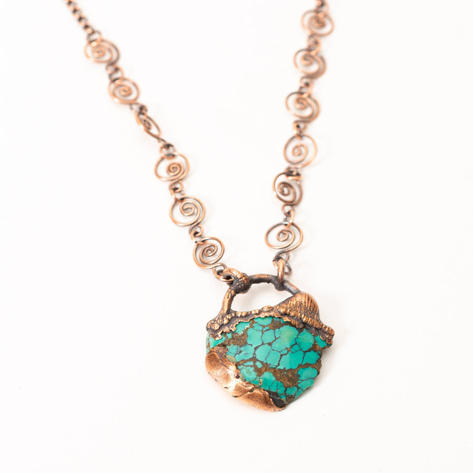 Medium Deep Blue Turquoise Electroformed Copper Pendant | Tinklet Jewelry
