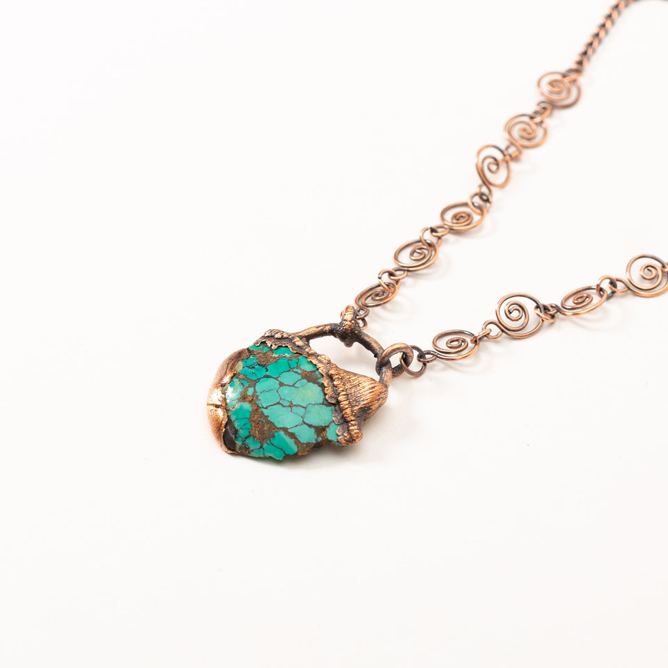 Medium Deep Blue Turquoise Electroformed Copper Pendant | Tinklet Jewelry necklace/pendant Tinklet