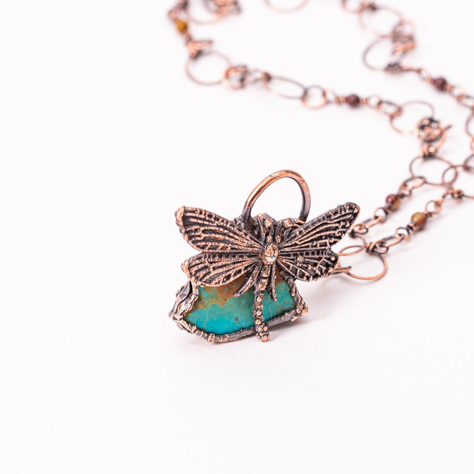 Dragonfly Turquoise Electroformed Copper Pendant | Tinklet Jewelry necklace/pendant Tinklet