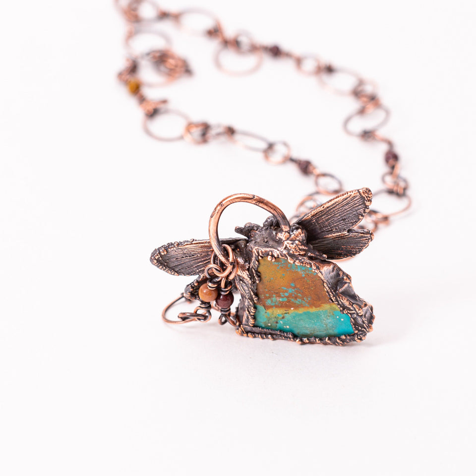 Dragonfly Turquoise Electroformed Copper Pendant | Tinklet Jewelry