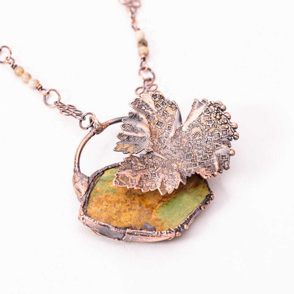 Green Turquoise Copper Leaf Electroformed Pendant | Tinklet Jewelry
