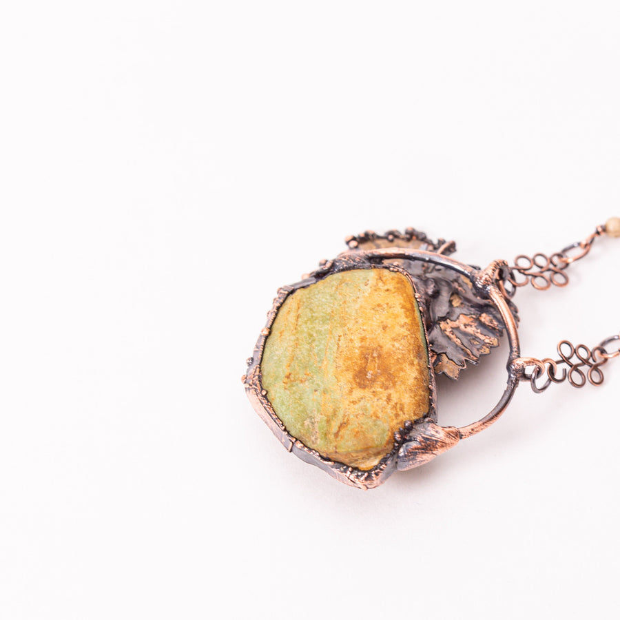 Green Turquoise Copper Leaf Electroformed Pendant | Tinklet Jewelry necklace/pendant Tinklet