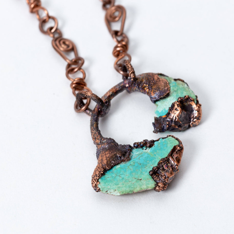 Small Turquoise and Electroformed Copper Pendant | Tinklet Jewelry