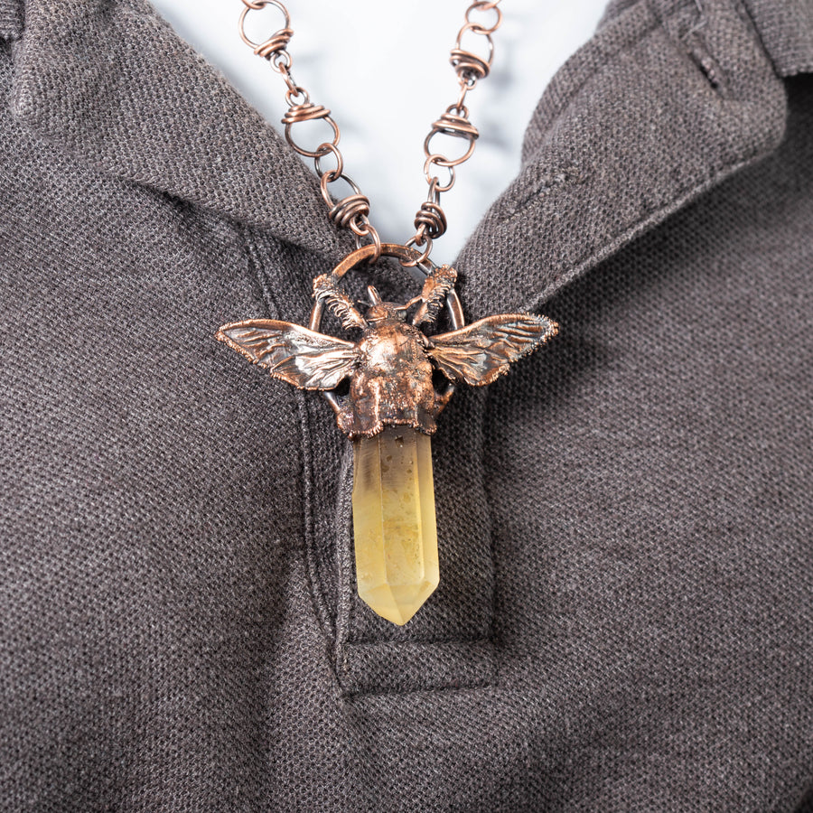 Ametrine Crystal Point and Bee Copper Pendant | Tinklet Jewelry necklace/pendant Tinklet