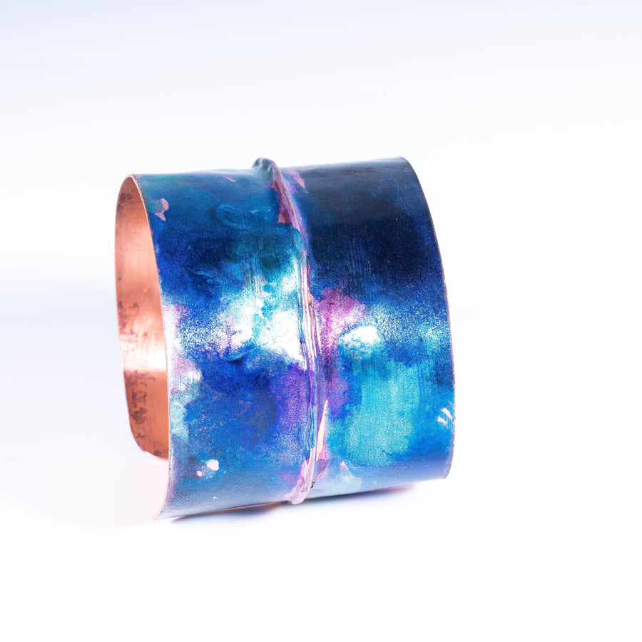 Blue Color Pop Copper Alcohol Inked Cuff for Women | Tinklet Jewelry Bracelet Tinklet