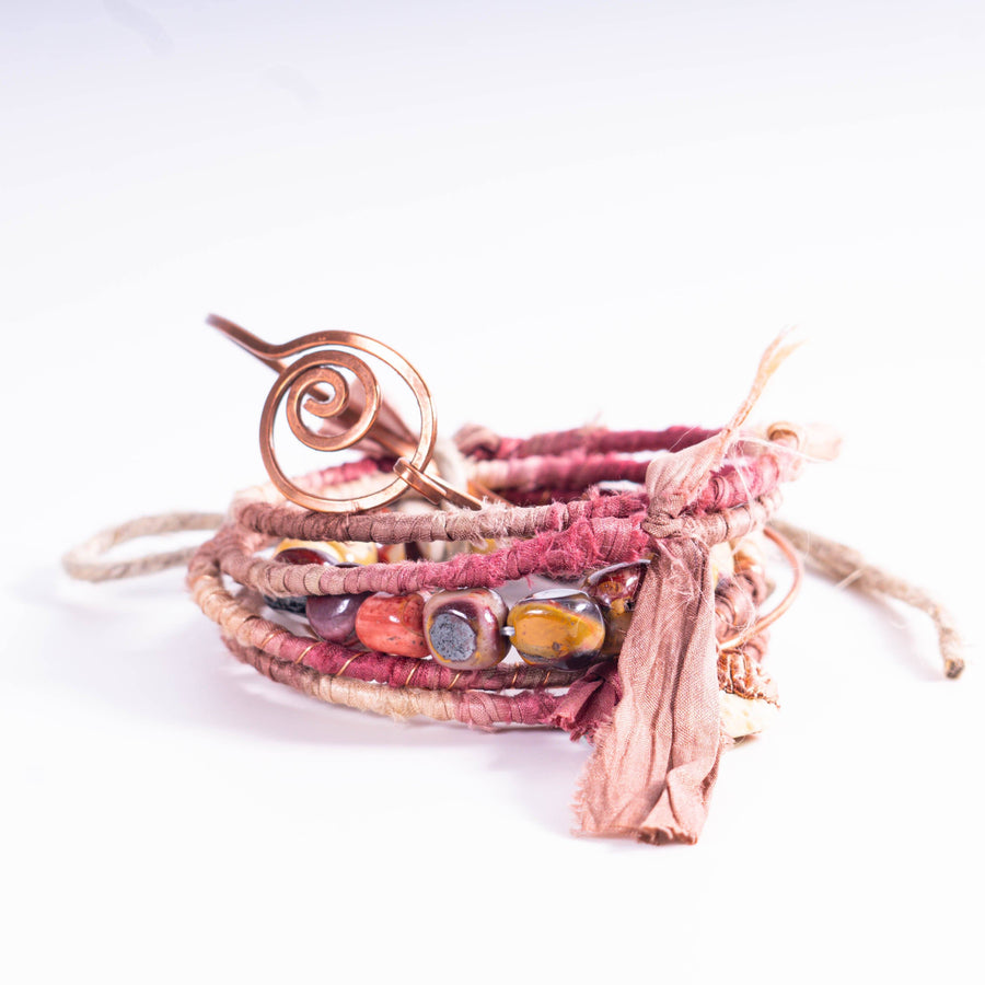 Dusty Rose Hippie Bangles Mix and Match Fabric and Copper set of 7 Bracelet Tinklet