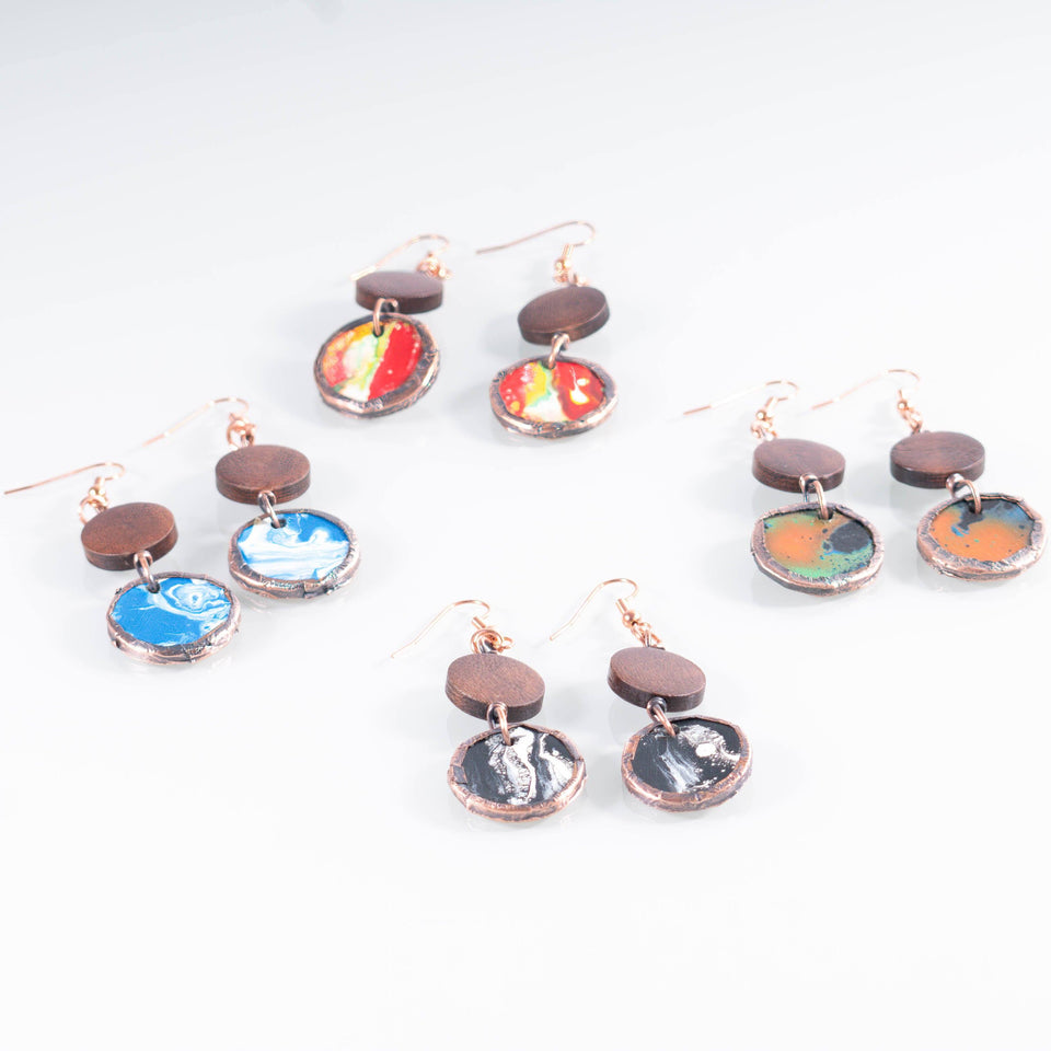 Colorful Wood and Copper Dangle Earrings | Tinklet Jewelry Earring Tinklet