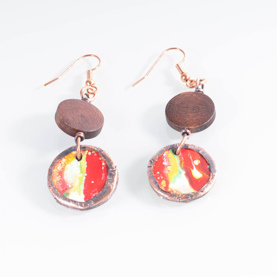 Colorful Wood and Copper Dangle Earrings | Tinklet Jewelry Earring Tinklet Red/White