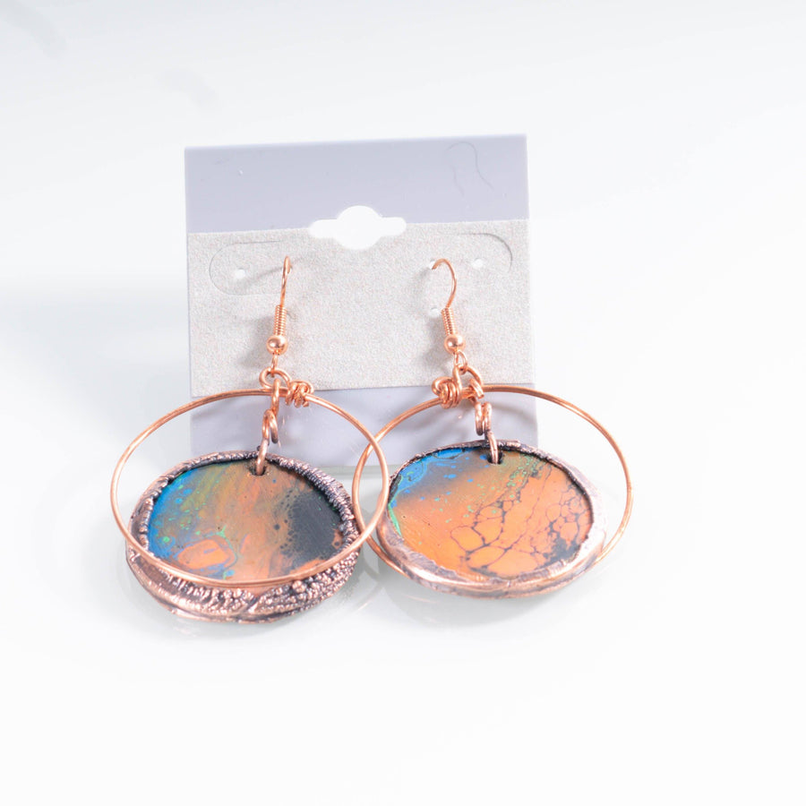 Hand Painted Wooden and Copper Earrings | Tinklet Jewelry Earring Tinklet