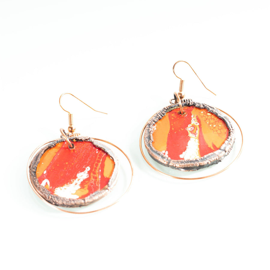 Hand Painted Wooden and Copper Earrings | Tinklet Jewelry Earring Tinklet Orange/Red and White