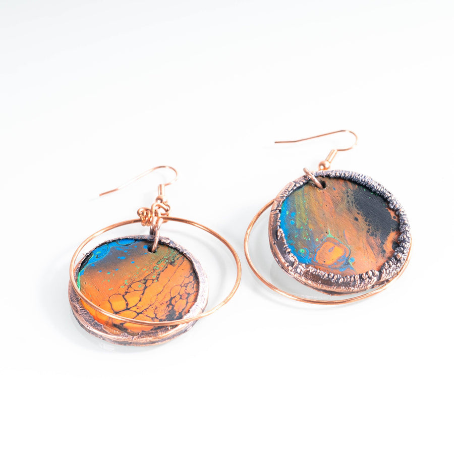 Hand Painted Wooden and Copper Earrings | Tinklet Jewelry Earring Tinklet Orange/Black and Blue