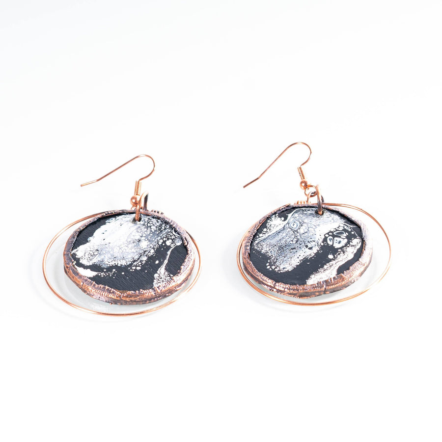 Hand Painted Wooden and Copper Earrings | Tinklet Jewelry Earring Tinklet Black and White