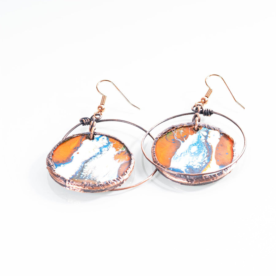 Hand Painted Wooden and Copper Earrings | Tinklet Jewelry Earring Tinklet White/Blue and Orange