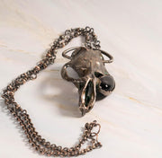 Mid-evil Muskrat Skull Pendant with Black Agate Eye | Tinklet Jewelry necklace/pendant Tinklet