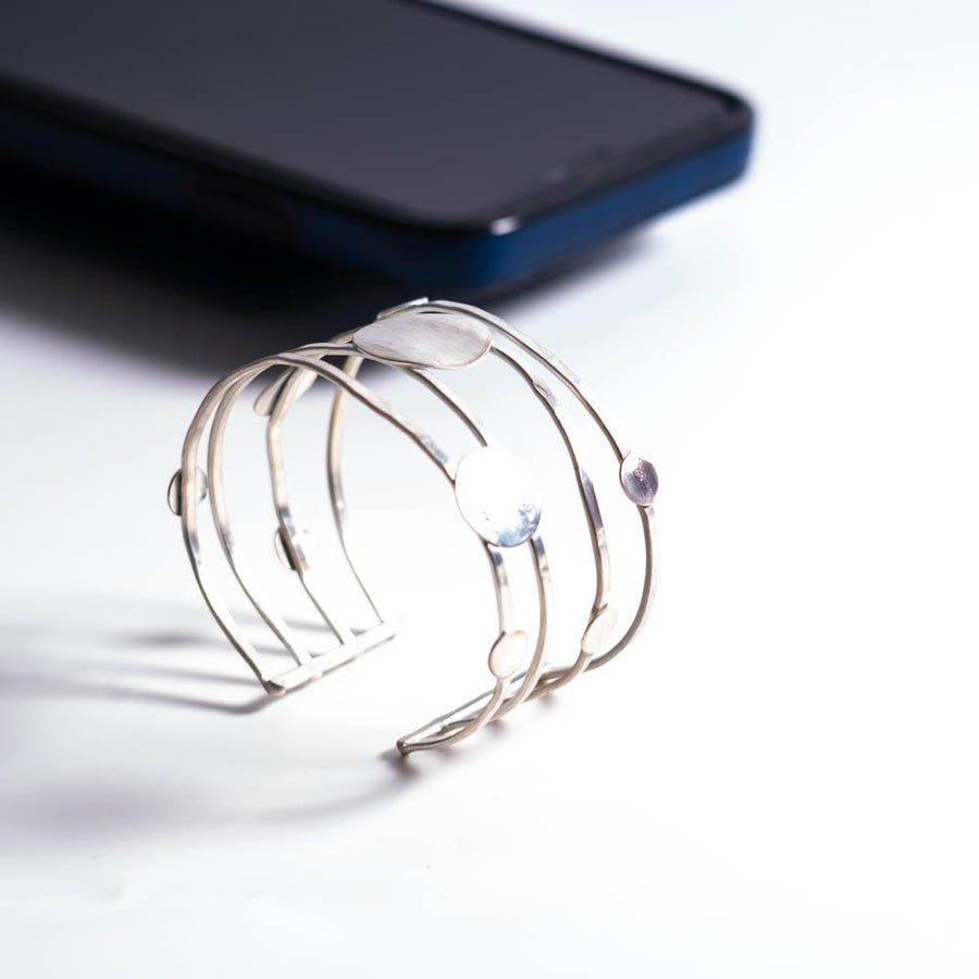 Contemporary Wire Cuff with Disc Embellishments | Tinklet Jewelry Bracelet Tinklet
