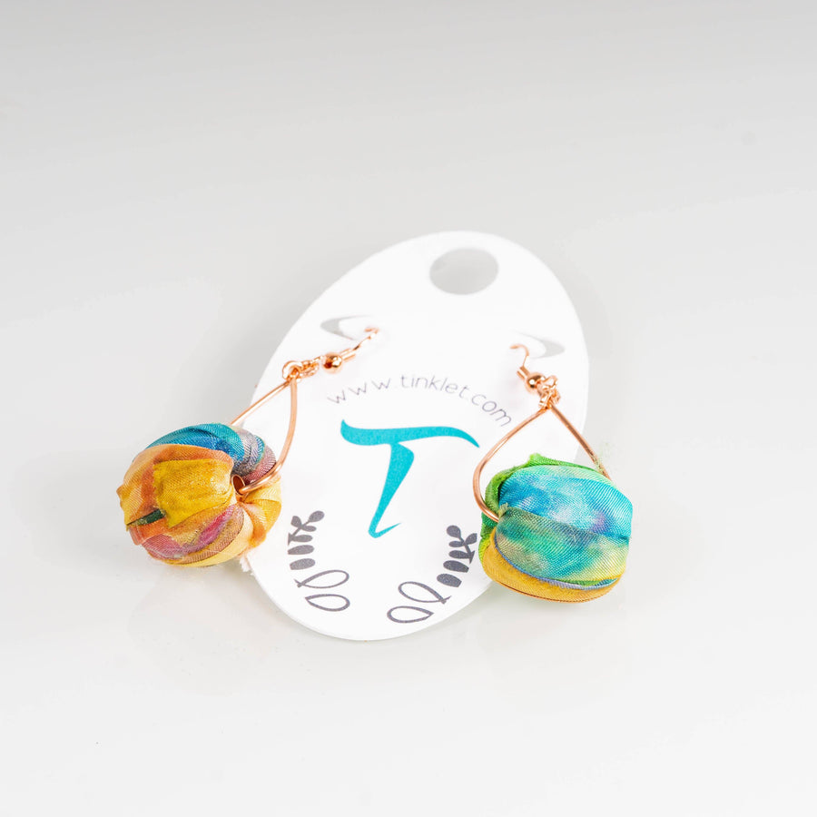 Colorful Silk Drum Dangle Earrings | Tinklet Jewelry Earring Tinklet Jewelry Summer Haze