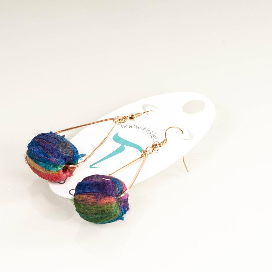 Colorful Silk Drum Dangle Earrings | Tinklet Jewelry Earring Tinklet Jewelry Purple Madness