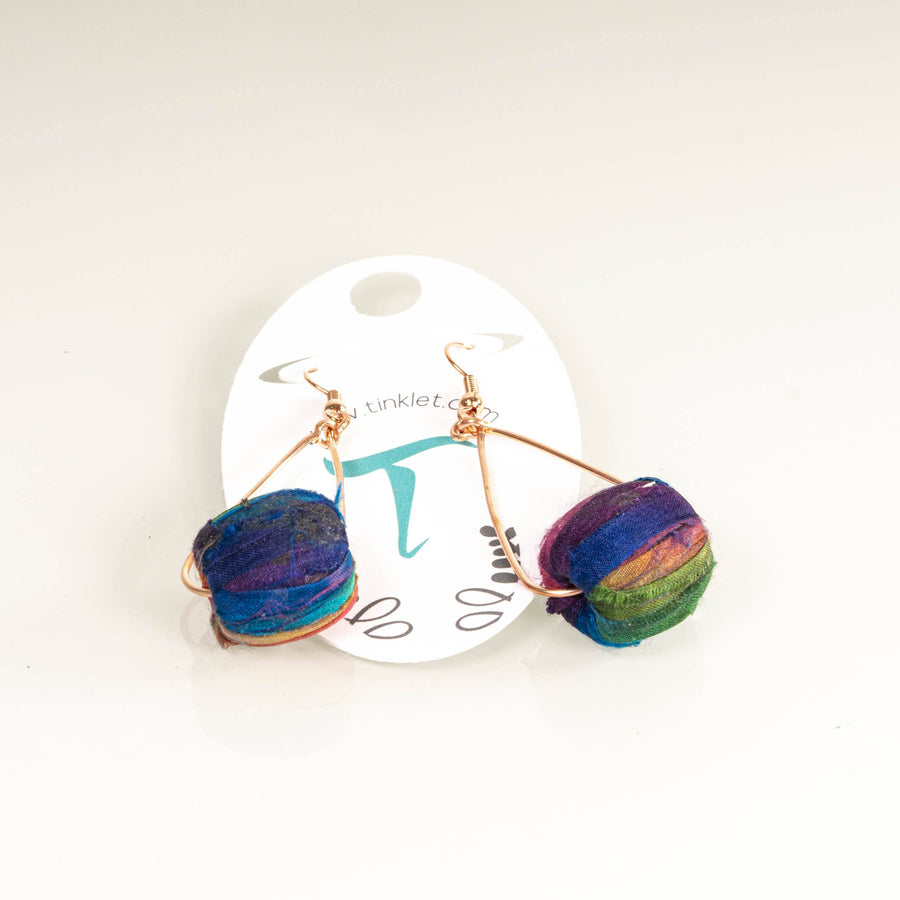 Colorful Silk Drum Dangle Earrings | Tinklet Jewelry Earring Tinklet Jewelry
