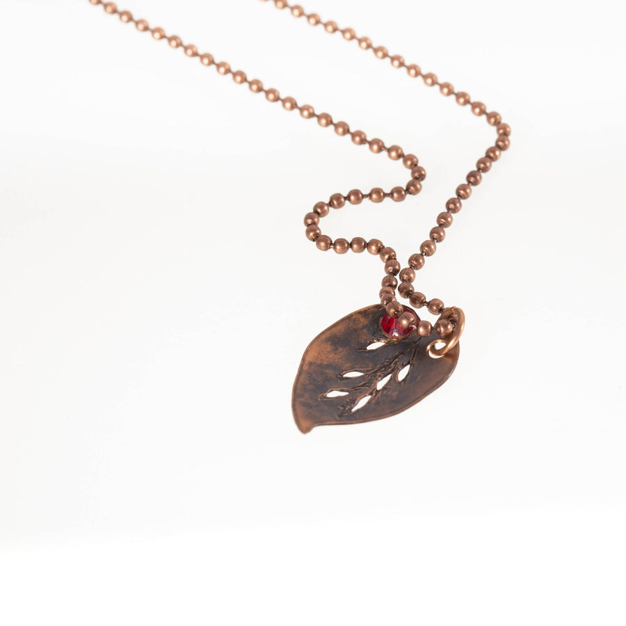 Tiny Copper Leaf Pendant with Stone Accent | Tinklet Jewelry necklace/pendant Tinklet Jewelry