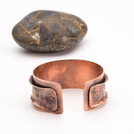 Bracelet - Antiqued Copper Cuff – Ruffled Bracelet | Tinklet Jewelry