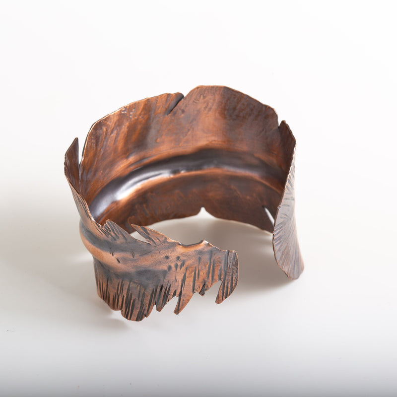 handmade copper feather cuff by tinklet jewelry