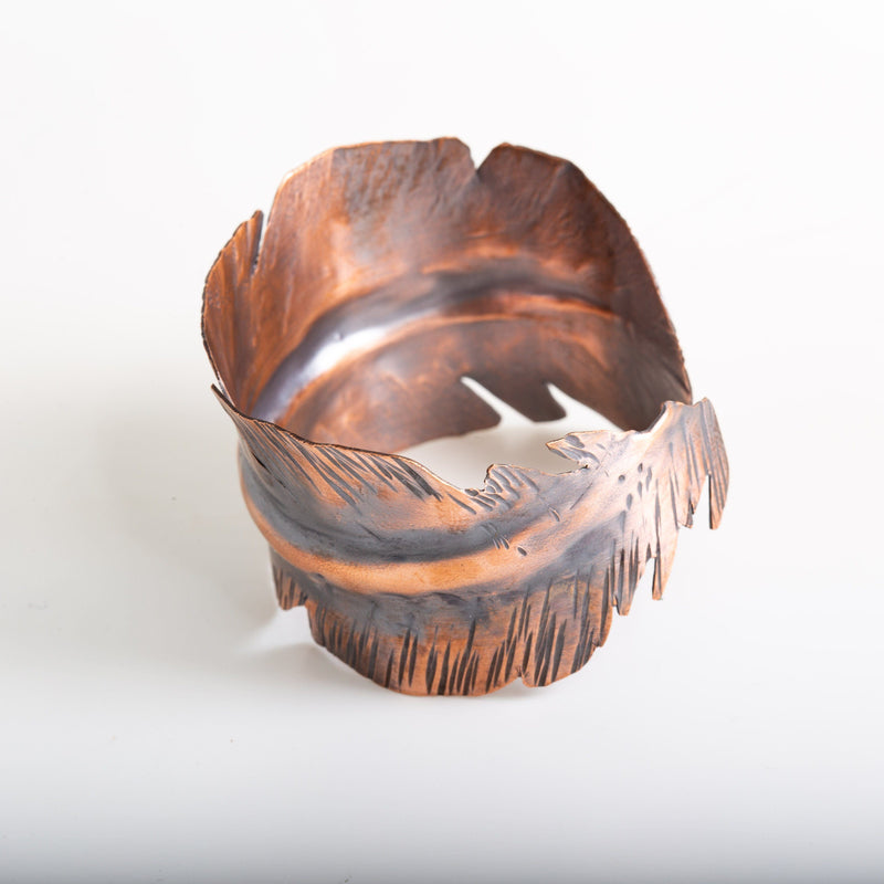 Bracelet - Antiqued Copper Feather Cuff Bracelet | Tinklet Jewelry