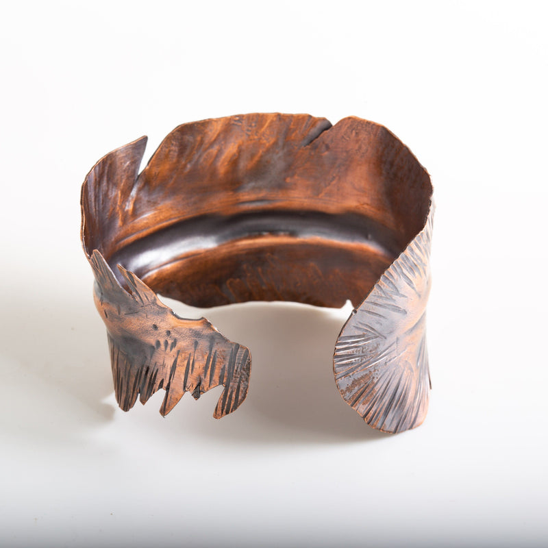 copper cuff feather bracelet