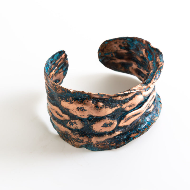 air chased blue copper cuff by tinklet jewelry