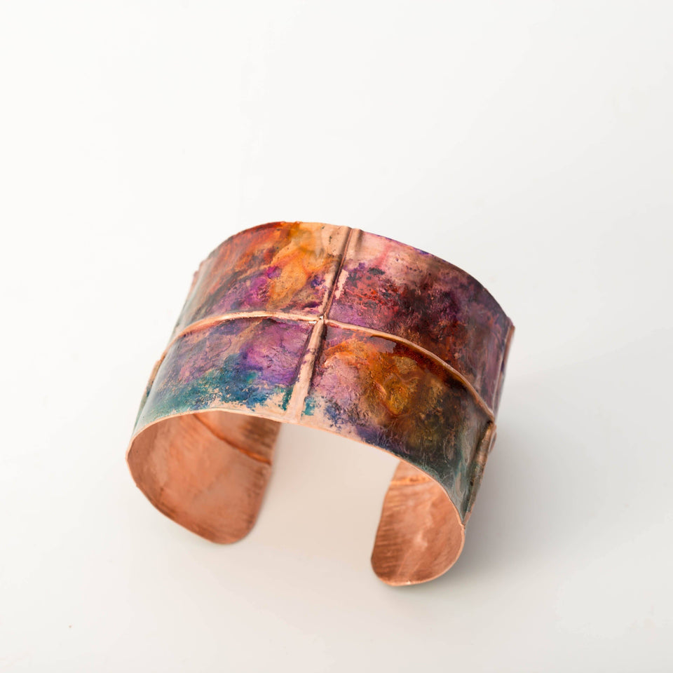Colorful Copper Rustic Cuff – Jewel Tone | Tinklet Jewelry Bracelet Tinklet