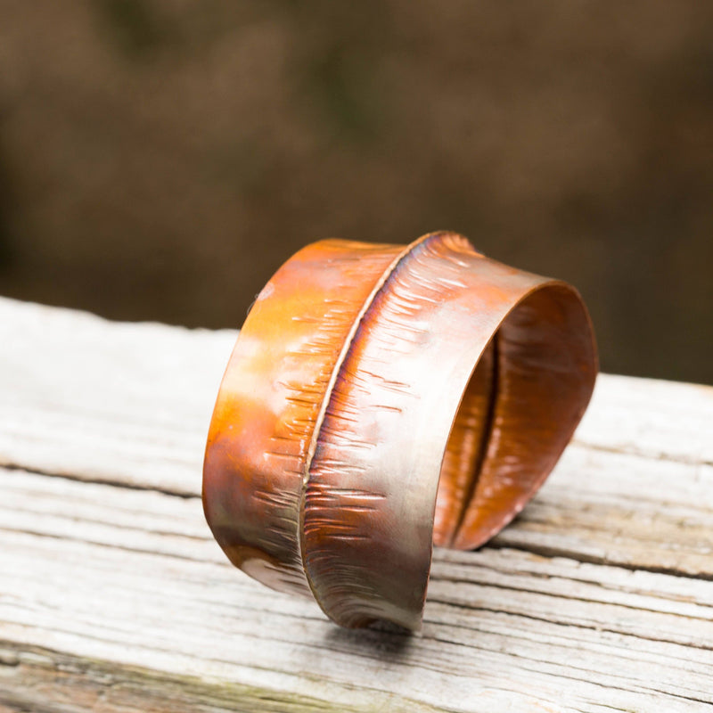 Bracelet - Flame Painted Copper Cuff – Artistic Design | Tinklet Jewelry