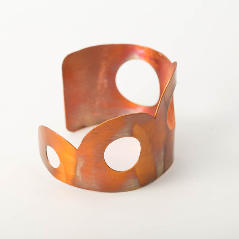 Copper cuff bracelet - flame painted
