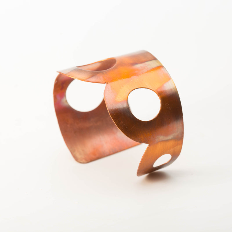 Asymmetrical  flame painted cuff bracelet by Tinklet Jewelry